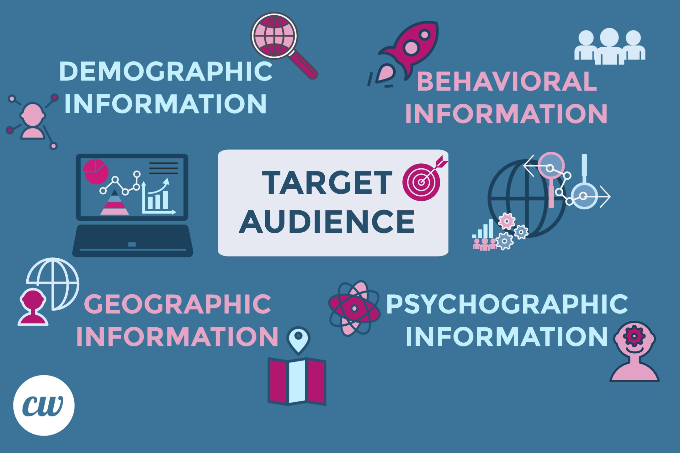 Target audience - demographic information, behavioral information, geographic information, psychographic information