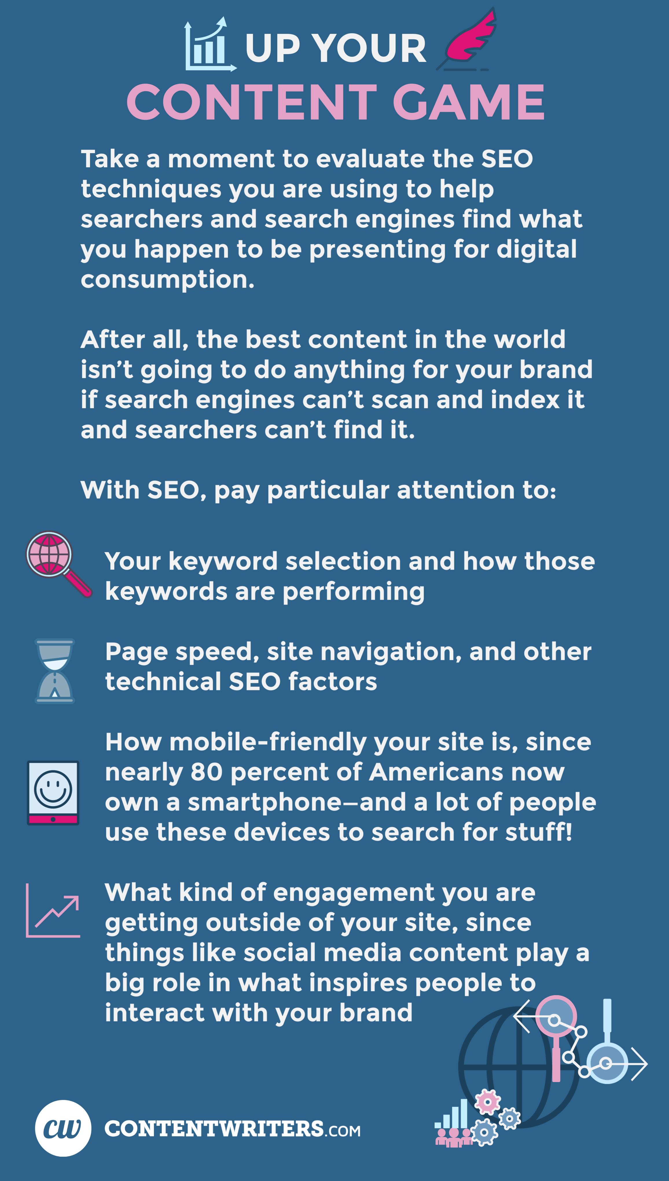 As long as we're on the topic of content, take a moment to evaluate the SEO techniques you are using to help searchers and search engines find what you happen to be presenting for digital consumption. After all, the best content in the world isn't going to do anything for your brand if search engines can't scan and index it and searchers can't find it. With SEO, pay particular attention to:  Your keyword selection and how those keywords are performing Page speed, site navigation, and other technical SEO factors How mobile-friendly your site is, since nearly 80 percent of Americans now own a smartphone—and a lot of people use these devices to search for stuff! What kind of engagement you are getting outside of your site, since things like social media content play a big role in what inspires people to interact with your brand