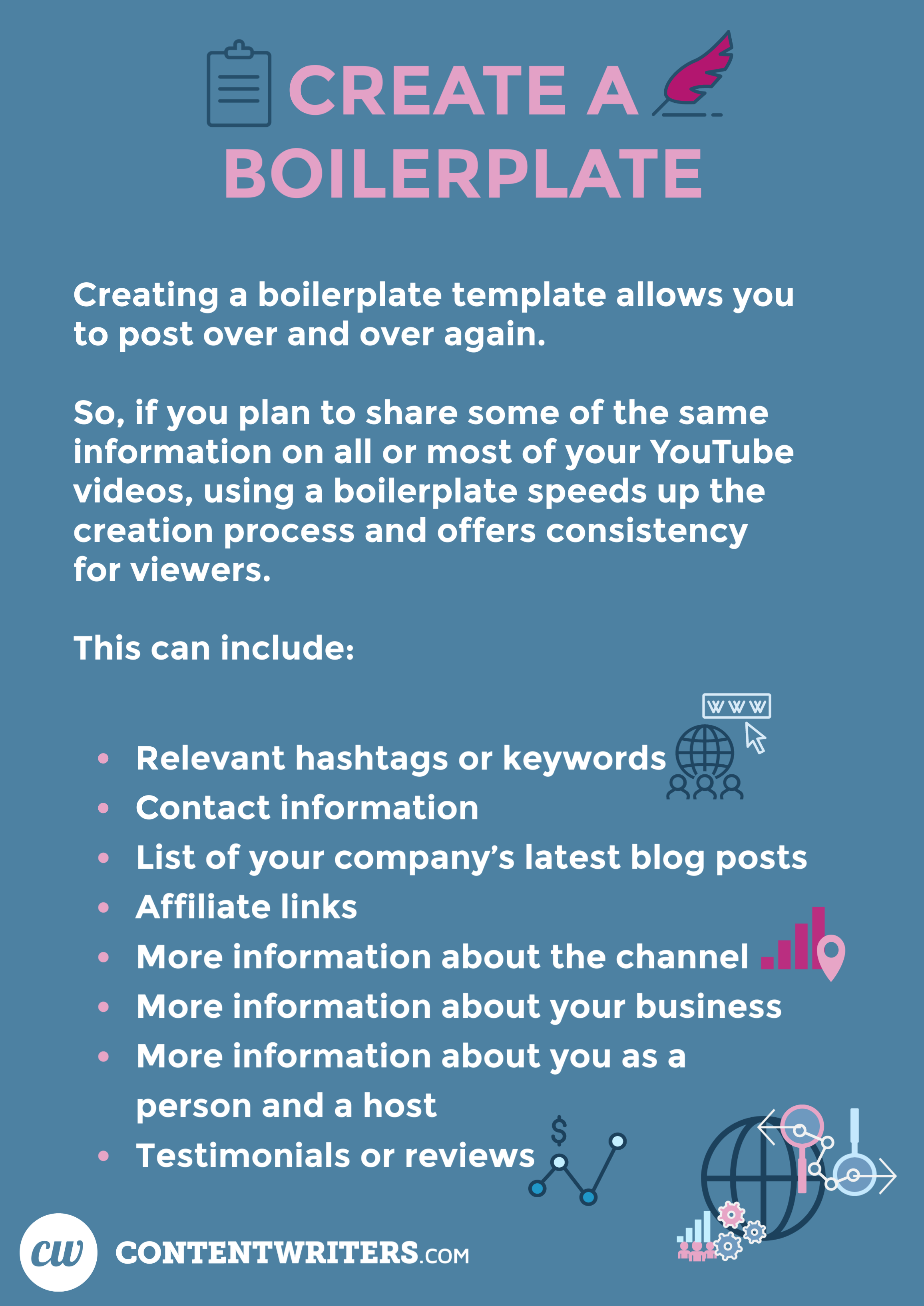 Create a Boilerplate Creating a boilerplate template allows you to post over and over again. So, if you plan to share some of the same information on all or most of your YouTube videos, using a boilerplate speeds up the creation process and offers consistency for viewers. This can include:  Relevant hashtags or keywords Contact information List of your company's latest blog posts Affiliate links More information about the channel More information about your business More information about you as a person and a host Testimonials or reviews