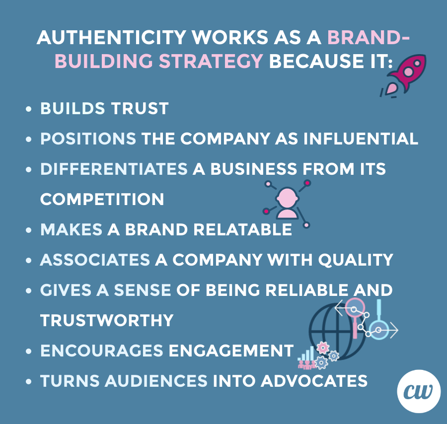 Authenticity works as a brand-building strategy because it:  Builds trust Positions the company as influential Differentiates a business from its competition Makes a brand relatable Associates a company with quality Gives a sense of being reliable and trustworthy Encourages engagement Turns audiences into advocates