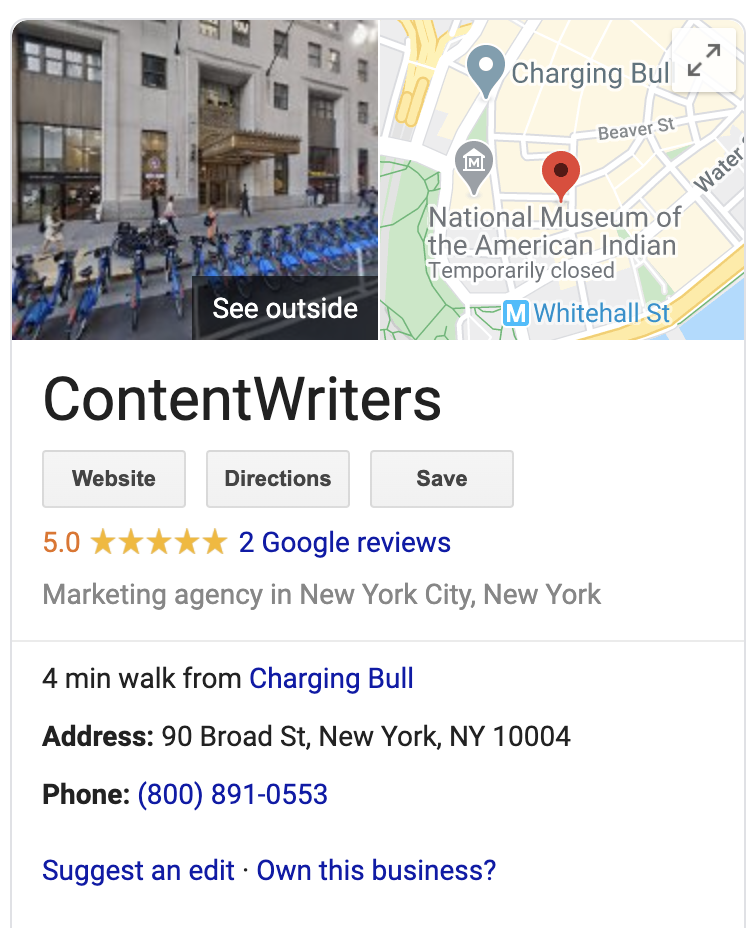 ContentWriters' Google My Business Listing